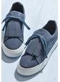 Elle Püsküllü Süet Ayakkabı Lacivert